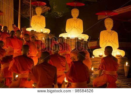Chiang Mai Thailand - July 30 : Asalha Puja Day Is The Important Incidents Buddhist Day. Buddhist Mo