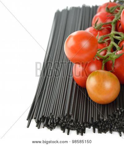 Black Spaghetti And Tomatoes