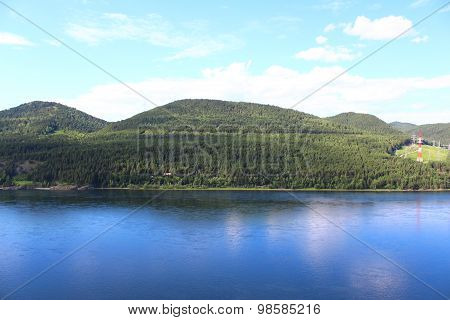 Yenisei River and the hilly bank