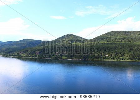 Hilly beach at the river Yenisei