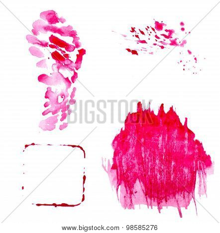 Vectorized Red Splashes And Blots