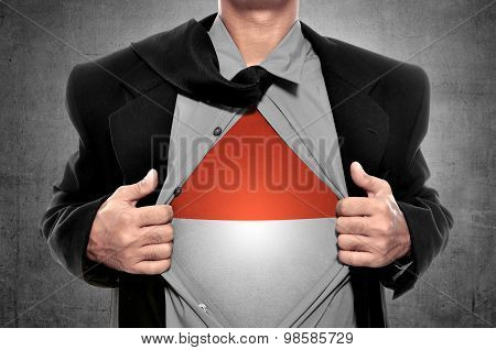 Business Man Open His Shirt With Indonesian Flag Inside