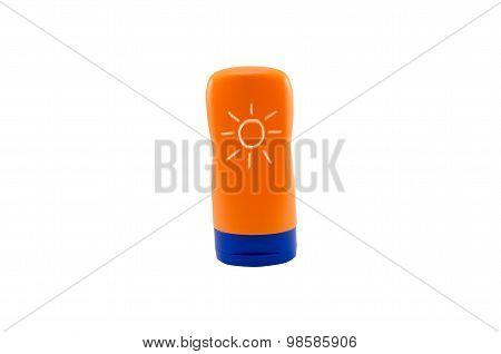 Bottle Sunblock Cream Isolated On White Background