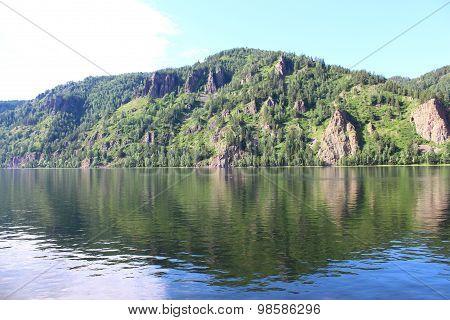 Rocks on the bank of the Yenisei River, near Divnogorsk