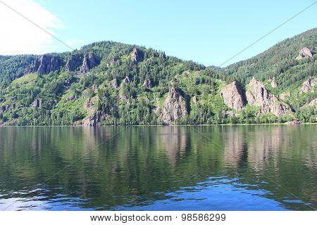 Rocky coast in the Yenisei River