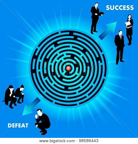 Maze With Route To Success Or Defeat