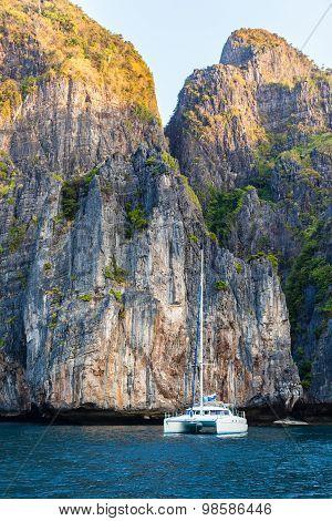 Catamaran And Cliffs