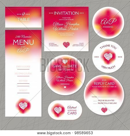 Set Of Modern Wedding Cards
