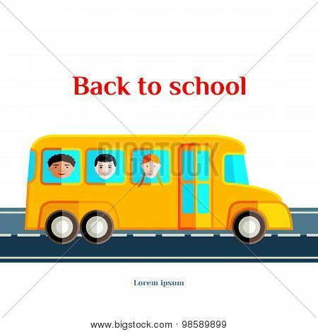 Back to School. The yellow bus with children. Flat vector illustration