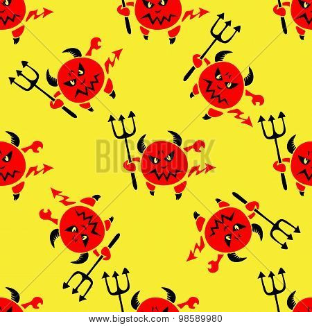 devil with trident seamless pattern