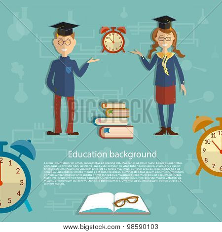 Time For Education, Schoolboy, Schoolgirl, Textbooks, Back To School, School Uniform, Alarm Clocks