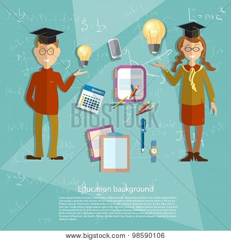 Education Concept Schoolboy, Schoolgirl, School Subjects, Textbooks, Classroom, Uniform, College