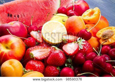 Fresh Fruit On Wooden Table