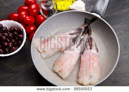 Fresh Fish Monkfish With Ingredients