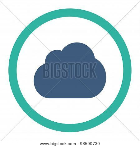 Cloud flat cobalt and cyan colors rounded vector icon