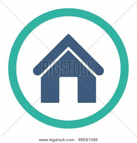 Home flat cobalt and cyan colors rounded vector icon