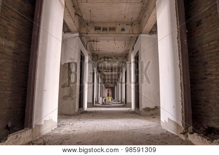 Inside Of Old Abandoned Building With Construction Unfinished