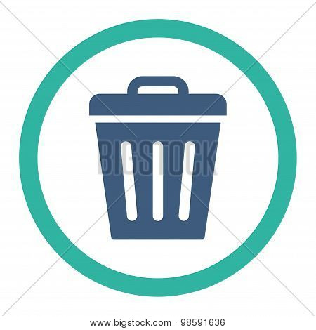 Trash Can flat cobalt and cyan colors rounded vector icon