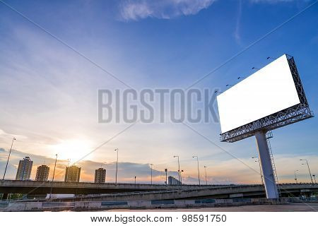 Large Blank Billboard With City View And Background