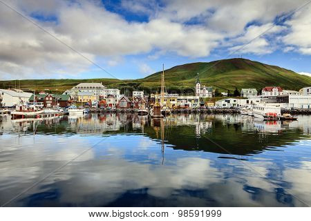 Husavik harbor in Northern Iceland
