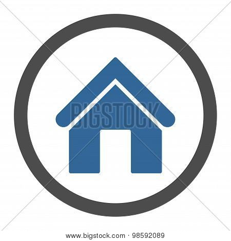 Home flat cobalt and gray colors rounded vector icon
