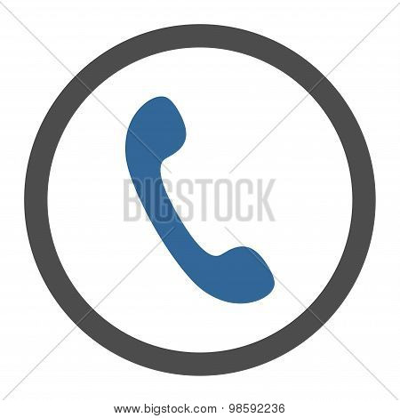 Phone flat cobalt and gray colors rounded vector icon