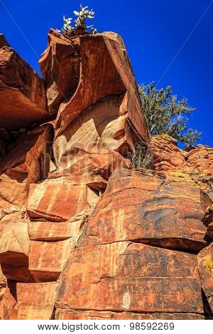 Ancient Indian petroglyphs on a rock face near Cottonwood, Arizona