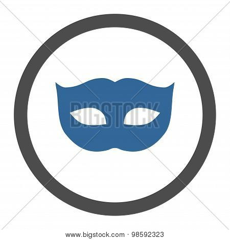 Privacy Mask flat cobalt and gray colors rounded vector icon