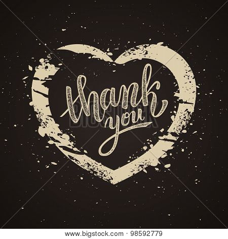 Thank You Handwritten Vector Illustration, Brush Pen Lettering On Dark Background, Heart
