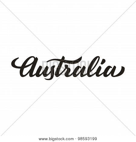 'australia' Handwritten Text, Brush Pen Lettering, T-shit, Poster, Logo Design, Vector Illustration