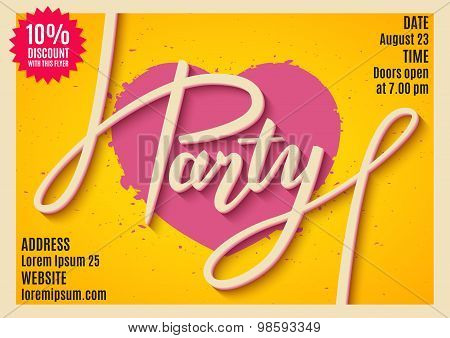 Invitation To Party, Banner, Flyer, Ticket, Poster Design With Handwritten Text. Vector Illustration