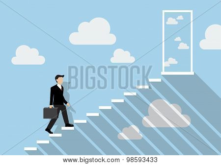 Businessman Stepping Up A Staircase To The Real Sky