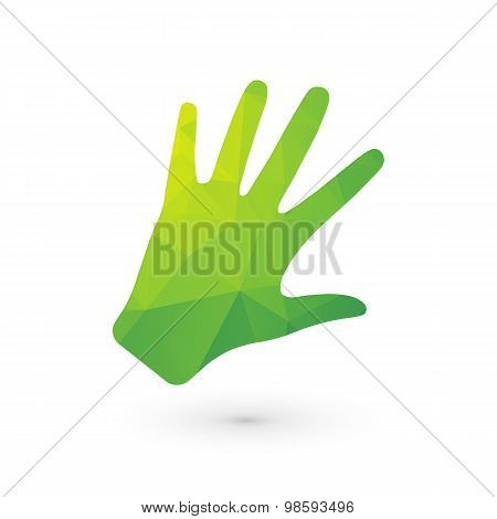 Bio Human Hand Out Of Green Triangles