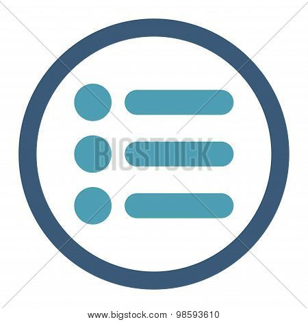 Items flat cyan and blue colors rounded vector icon
