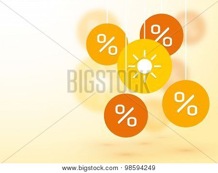 Symbol Summer Percent Discounts And Blur Icon On A Background