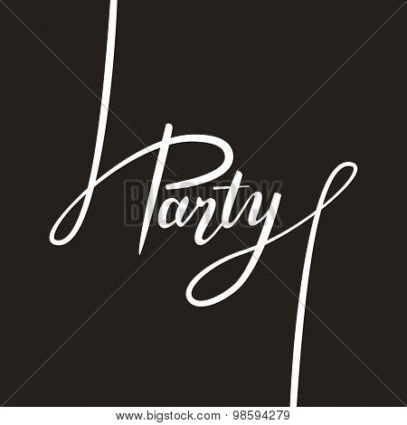 'party' Handwritten Text Lettering. Vector Illustration