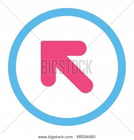 Arrow Up Left flat pink and blue colors rounded vector icon