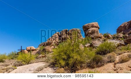 Three Crosses on a Hillside in the Arizona Desert