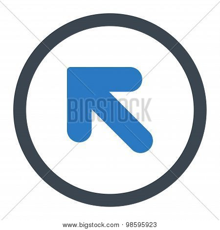 Arrow Up Left flat smooth blue colors rounded vector icon