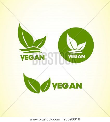 Vegan Vegetarian Logo Icon Set