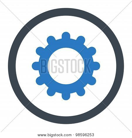 Gear flat smooth blue colors rounded vector icon