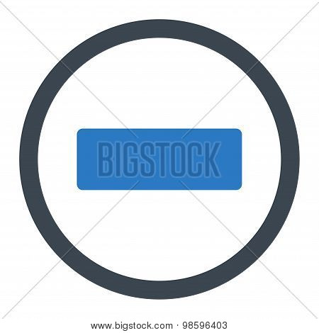 Minus flat smooth blue colors rounded vector icon