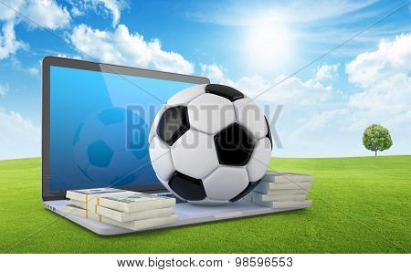On Line Soccer Betting Concept.
