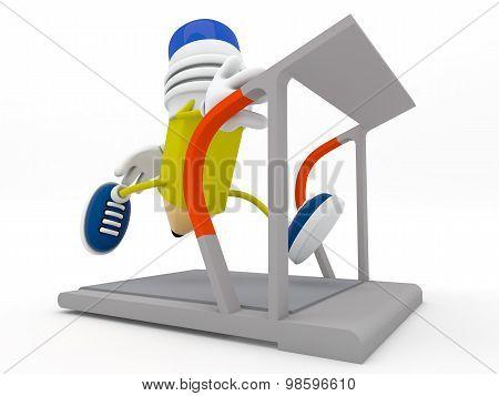 Yellow Pencil Running On Treadmill - 3D Render