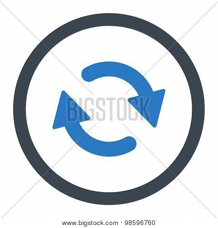 Refresh flat smooth blue colors rounded vector icon