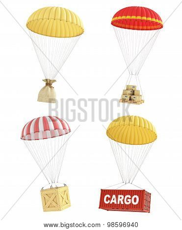 Concept Of Delivery. Set Of Colorful Parachutes With Different Packages For Delivery. Cardboard Box,