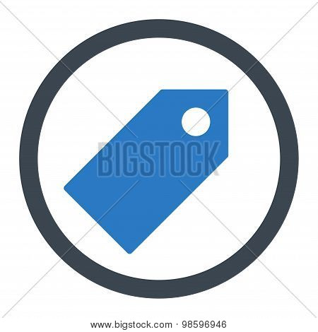 Tag flat smooth blue colors rounded vector icon