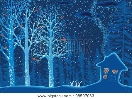 Winter landscape with a snow covered hut and trees with a perched flock of bullfinches on branches in the forest