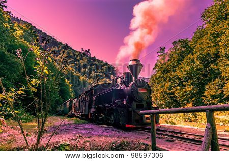 Old Black Steam Powered Railway Train