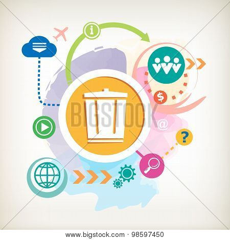 Recycle Garbage Can And Cloud On Abstract Colorful Watercolor Background With Different Icon And Ele